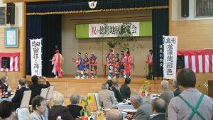 徳田田植え踊り保存会の皆さんがお祝い(徳田地区)